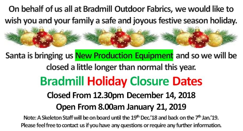 2018 Holiday Notice
